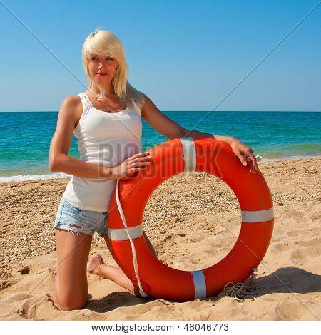 Beautiful Lifeguard At Sea