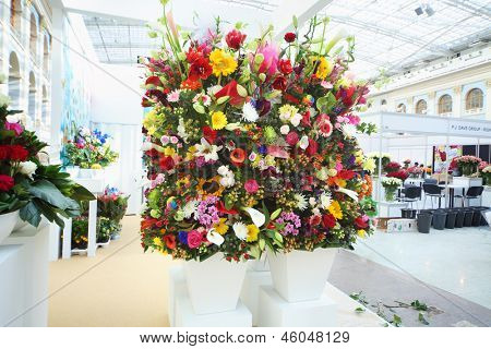 MOSCOW - SEPTEMBER 4: Two big bouquets at XIX International Flower Show in Gostinnyj dvor, on September 4, 2012 in Moscow, Russia.
