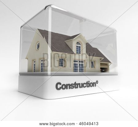 Design showcase with the word construction exhibiting a residential house