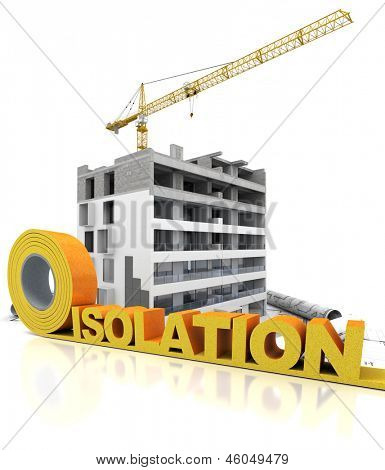 Building under construction with the word isolation (French) written in insulation tape