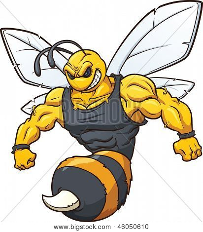 Hornet mascot. Vector clip art illustration with simple gradients. All in a single layer.