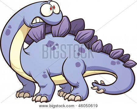 Cartoon stegosaurus. Vector clip art illustration with simple gradients. All in a single layer.