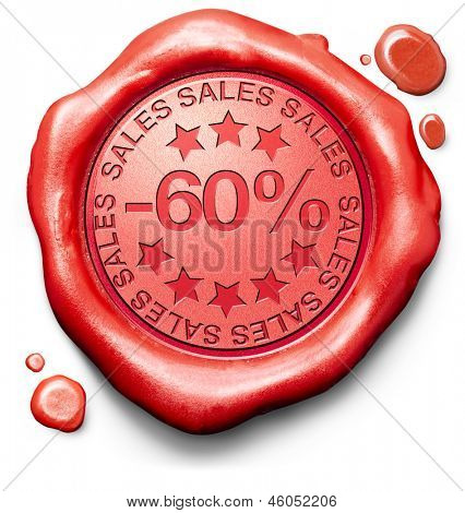60% off sales summer or winter reduction extra low price buy for bargain limited offer icon red wax seal stamp