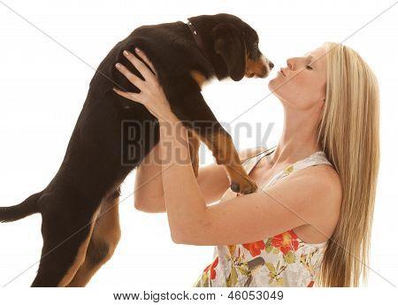 Woman Flower Dress Dog Kiss Close