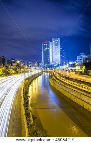 Tel At Night - Traffic on Ayalon Freeway