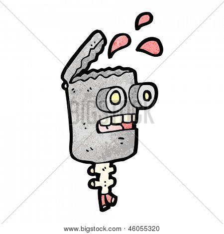 gross robot head cartoon