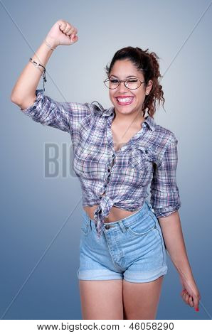 Happy Young Woman Showing A Happy Gesture