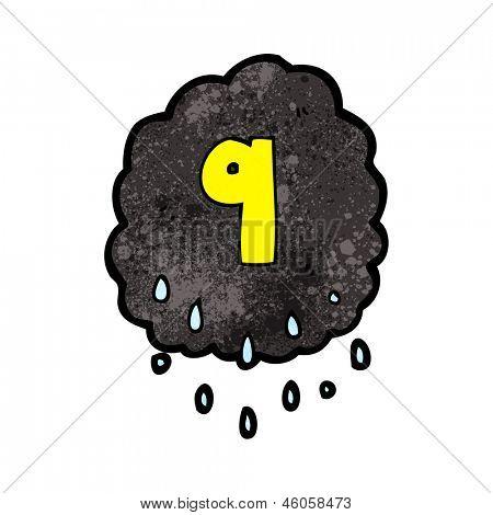 cartoon raincloud with number nine
