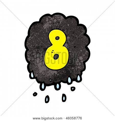 cartoon raincloud with number eight
