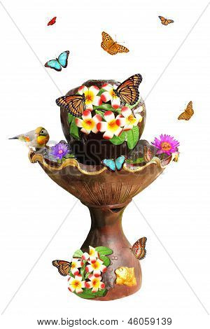 Garden Fountain, Butterflies, Flower And Bird
