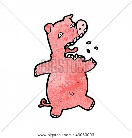 cartoon scared pig