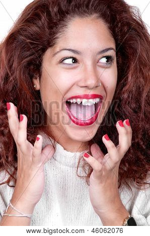 Portrait Of Very Happy Smiling Young Woman Gesturing
