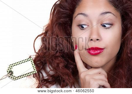 Girl Looking At A Price Tag