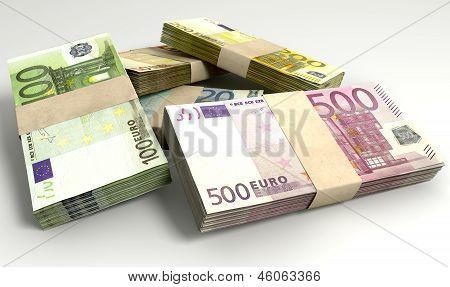 Euro Notes Collection Pile Close