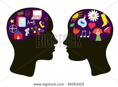 Brains of man and woman - thinking concept