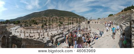 Panoramic View Of Odeon In Ephesus, Izmir, Turkey