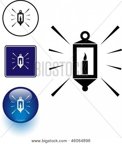 candle lamp symbol sign and button