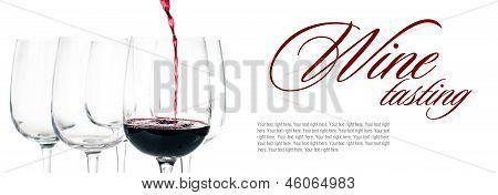 Red Wine Pouring Into Empty Glass