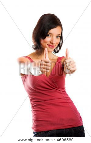 Happy Woman Is Smiling With Thumbs Up