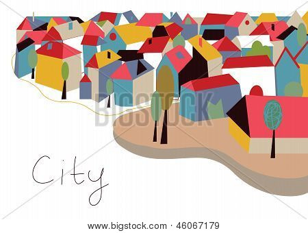 Cidade com cartão casas e árvores