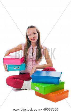 Girl With Colorful Boxes