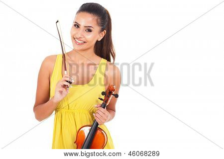 portrait of beautiful young woman with a violin over white background