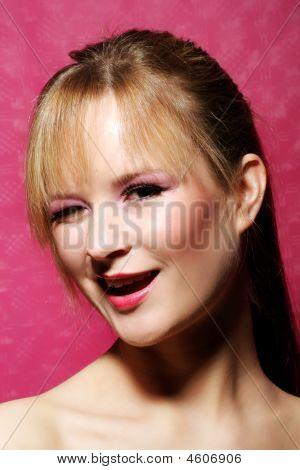 Portrait Of A Woman Is Winking