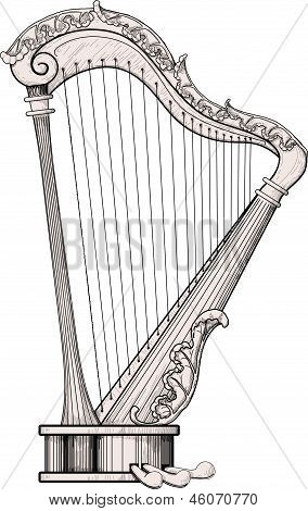 decorated harp