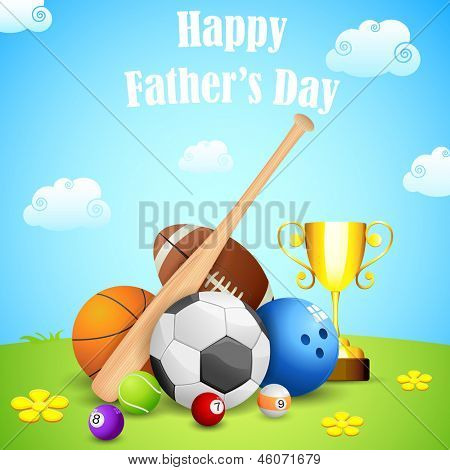 illustration of sports ball and trophy in Father's Day background