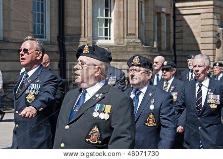 World War 2 Veterans Marching In Liverpool, Uk