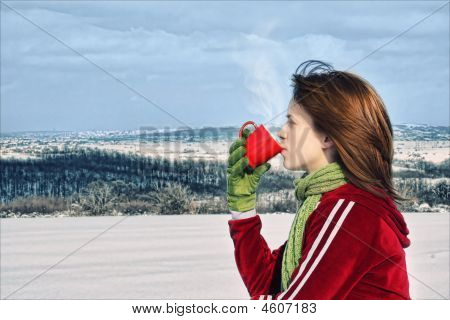 Girl Drinking Warm Beverage