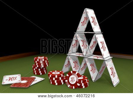 3d graphic of a balanced discount icon  on the casino table
