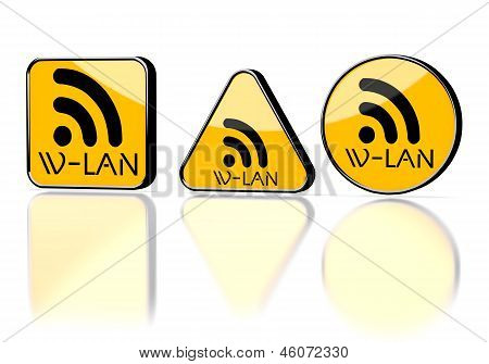 Illustration of a warning w-lan symbol on three warning signs