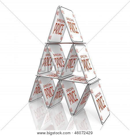 3d render of a fragile special price symbol  on a card house