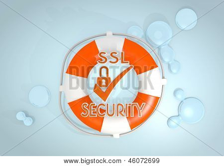 3d graphic of a safed SSL sign rescued by a lifesafer