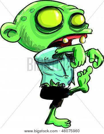 Dibujos animados a zombie aislados en blanco