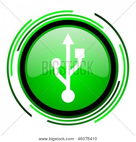 usb green circle glossy icon