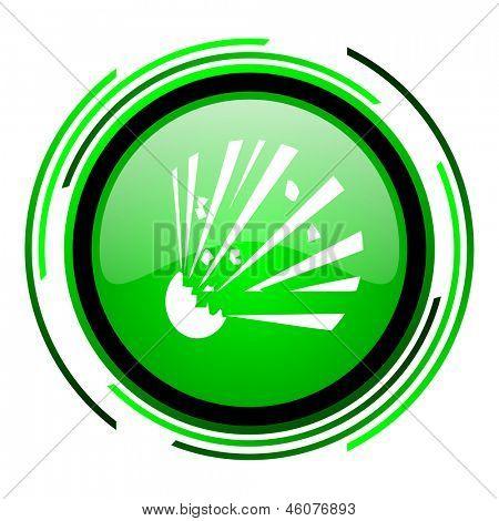 bomb green circle glossy icon