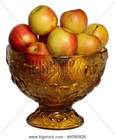 Apples In The Vase Located On White