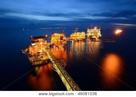 The  Large Offshore Oil Rig At Night