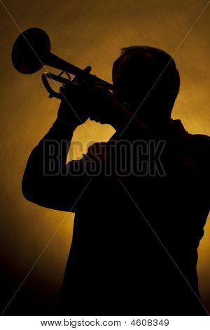 Trumpet Player Silhouette Yellow
