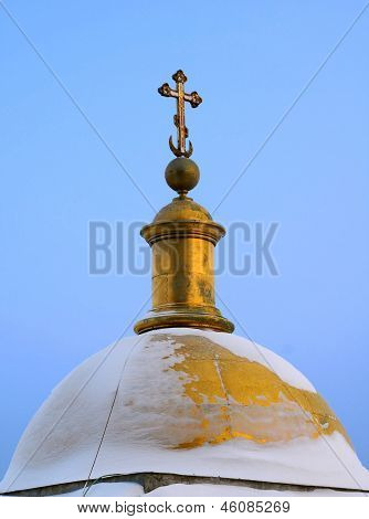 Dome Of Saint Isaac's Cathedral In The Winter