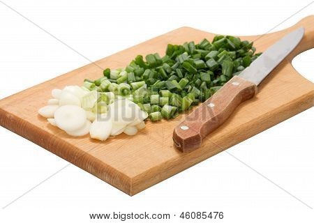 Green Onions Isolated On White