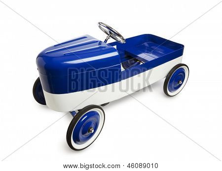 Vintage pedal car toy isolated on white background