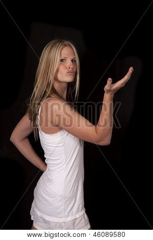 Woman White Dress Black Hand Up