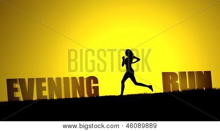 Evening run text with a girl jogging