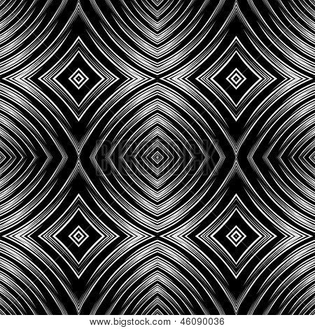 Seamless pattern in op art design. Vector graphic. No gradient.