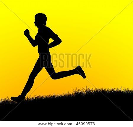 silhouette of a human running during beautiful sunset
