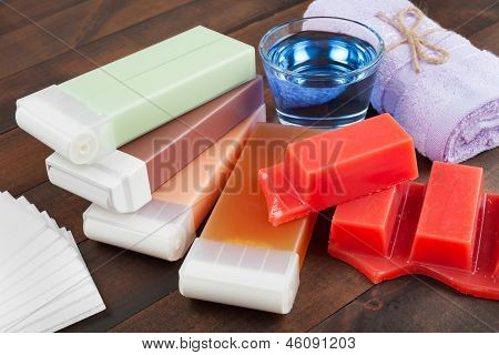 Wax For Hair Removal, Towel And Oil