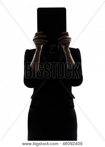 one business woman hiding computer computing digital tablet  silhouette studio isolated on white background
